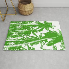 Palm Trees Design in Green and White Rug