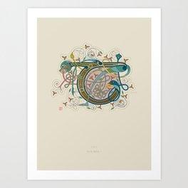 Celtic Initial T Art Print