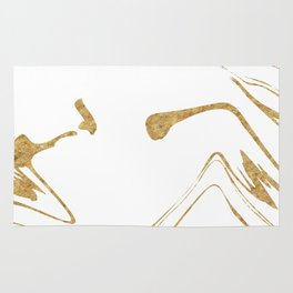 White With Gold Liquid Paint Rug
