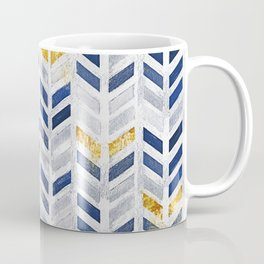 Herringbone chevron pattern.Indigo faux gold acrylic canvas Coffee Mug