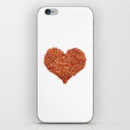Spicy crushed chili pepper Valentine heart iPhone Skin