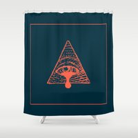 all seeing eye Shower Curtains featuring All Seeing Eye by Killer Lemonade Design
