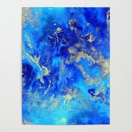 Blue & Gold Abstract II d171011 Poster