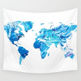 Abstract Blue World Map Painting Wall Tapestry
