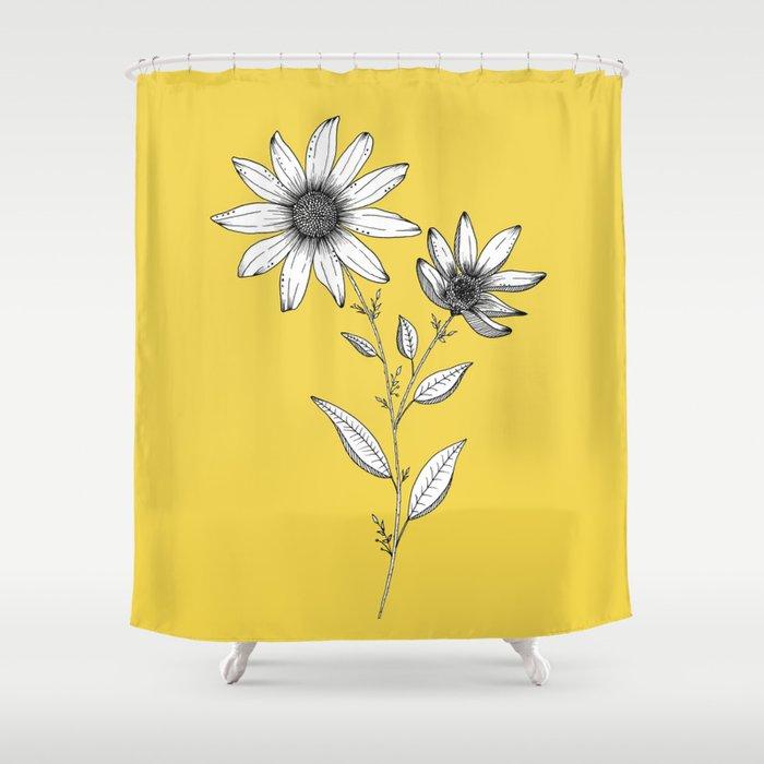 Wildflower line drawing | Botanical Art Shower Curtain