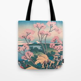Spring Picnic under Cherry Tree Flowers, with Mount Fuji background Tote Bag