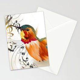 Colorful Hummingbird and Music Symbols Stationery Cards