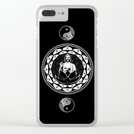 Buddha Black & White Yin & Yang Flower Of Life Clear iPhone Case