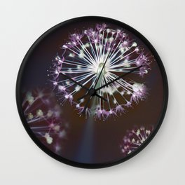 Fireworks. Dark Floral Abstract Wall Clock