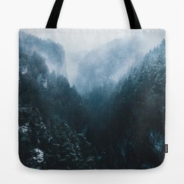 Foggy Forest Mountain Valley - Landscape Photography Tote Bag
