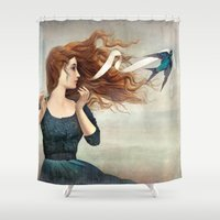 magritte Shower Curtains featuring The Little Thief by Christian Schloe