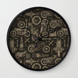 Dark Vintage Motorcycle Pattern Wall Clock