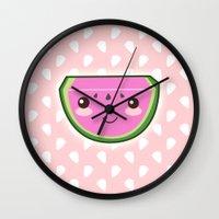 kawaii Wall Clocks featuring Kawaii Watermelon by Pati Designs