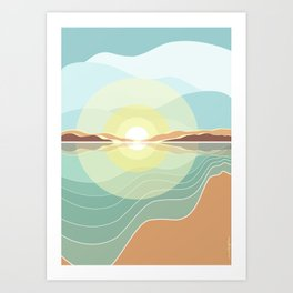 Reflections on the beach Art Print