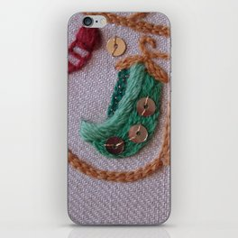Elizabethan Embroidery Pea Pods iPhone Skin