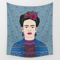 frida kahlo Wall Tapestries featuring Frida Kahlo by Bianca Green