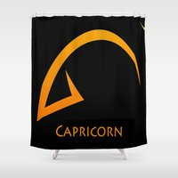 capricorn Shower Curtains featuring Capricorn by Groovyal
