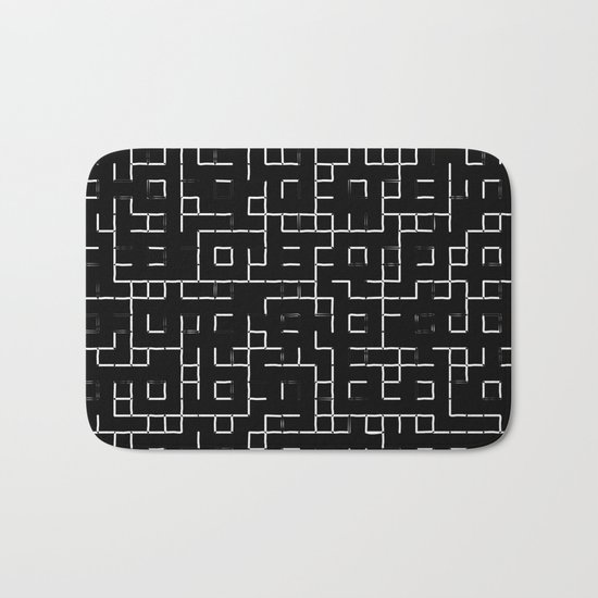 Maze - Black and white, abstract, maze pattern Bath Mat