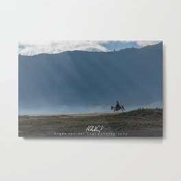 The lonely horse rider at Bromo, East Java, Indonesia Metal Print