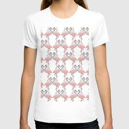 Modern Black White Pink Kissing Flamingos Pattern T-shirt
