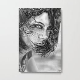 Girl portrait by Yellogfx Metal Print