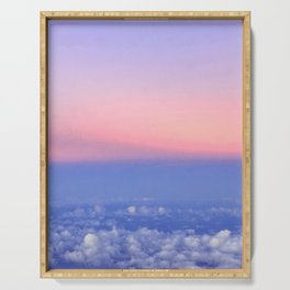 sunset from above the clouds Serving Tray