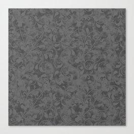 Modern Farmhouse Gray Damask Print Flower Vine on Weathered Background Canvas Print