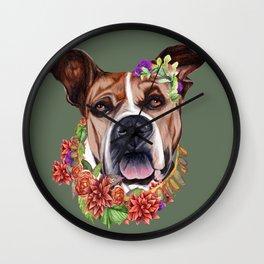 Flower power puppy Wall Clock