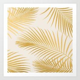 Metallic Gold Tropical Palm Fronds Art Print
