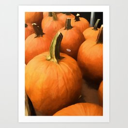 Pumpkins on Cart Art Print