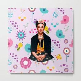 Frida Kahlo Queen of Flowers Metal Print