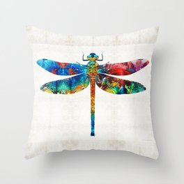 Colorful Dragonfly Art By Sharon Cummings Throw Pillow