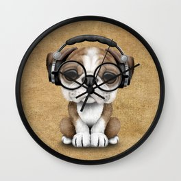 English Bulldog Puppy Dj Wearing Headphones and Glasses Wall Clock