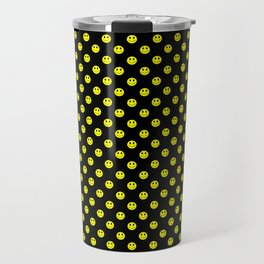 Smiley Happy in yellow color on a blackbackground - EFS168 Travel Mug