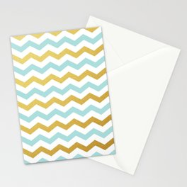 Tiffany Blue and Gold Chevron Pattern Stationery Cards