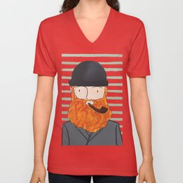 Man With A Hat Unisex V-Neck