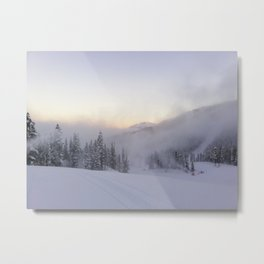 Natural and snow cannon mist in the morning Metal Print