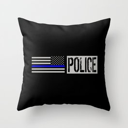 Police: Police Flag (Thin Blue Line) Throw Pillow