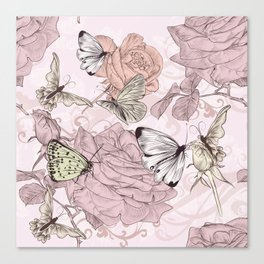 Victorian style classic pattern with butterflies and roses Canvas Print