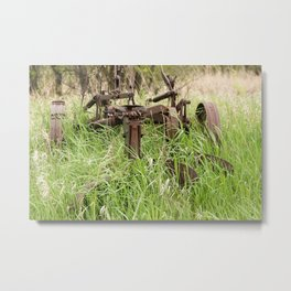 Antique Plow Overgrown in a Field Metal Print