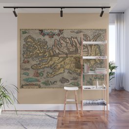 Antique Map Of Iceland 1603 Wall Mural