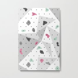 Abstract geometric climbing gym boulders pink mint Metal Print