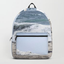 Seagulls in Flight Modern and Vintage Beach Aesthetic Photography of Seagull Birds Flying in Sky Backpack