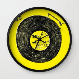 you are what you listen to FULL YELLOW Wall Clock
