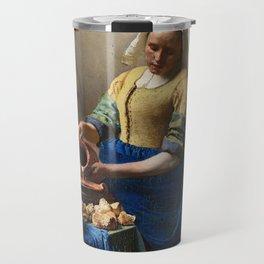 The Milkmaid by Johannes Vermeer Travel Mug