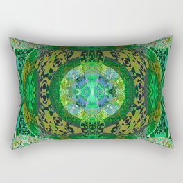 Deep Green Celtic Resonant Geometric Mandala Rectangular Pillow