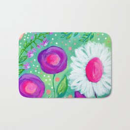 White Flowers, Purple Flowers, Floral Painting for Girl, Nursery Decor, Green, Blue, Coral Art Bath Mat
