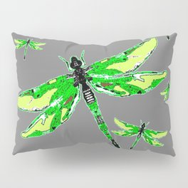 EMERALD GREEN  SWAMP DRAGONFLIES GREY ART Pillow Sham