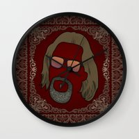 the dude Wall Clocks featuring Dude by DE.FE.