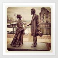 Harriet Beecher Stowe and President Abraham Lincoln Art Print